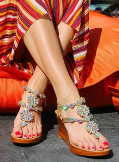 34453803692fd2 Amalfi- Women s Gold Jeweled Wedge Sandals