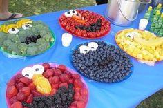 Sesame Street Fruit Platters for kids birthday.  So cute!