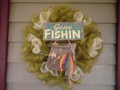 Gone fishing,lake, deco mesh wreath Deco Mesh Wreaths, Door Wreaths, Camo Wreath, Gone Fishing, Diy Door, Summer Wreath, Door Hangers, Derby, Cabin