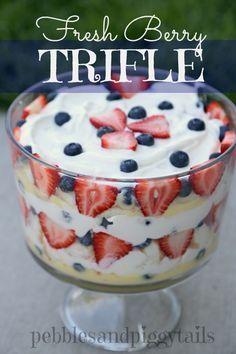 Fresh Berry Trifle on MyRecipeMagic.com - Now this is my kind of dessert!! Fruit, fruit, fruit!