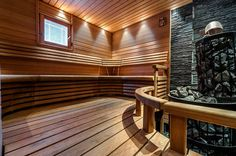 sauna with blue stones Interior Garden, Interior Design, Design Design, Modern Saunas, Sauna Room, Spa Rooms, Western Red Cedar, Home Spa, Extra Seating