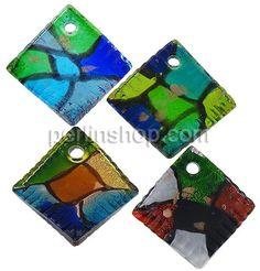 Mode Lampwork Anhänger, Rhombus, Goldsand und Silberfolie, gemischte Farben