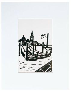 #Venice gondola #linoprint print 52 week 30