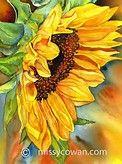 SUN DIVA - Giclee Print of Original Watercolor Painting by missycowan on Etsy♥🌸♥ Watercolour Painting, Watercolor Flowers, Painting & Drawing, Painting Flowers, Watercolor Artists, Watercolours, Art Du Monde, Sunflower Art, Sunflower Paintings