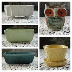 Vintage ceramic planters. Owl Planter. Pottery