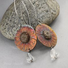 Summer flowers  bronze and silver earrings rock by drakonaria