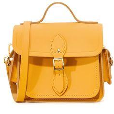 Cambridge Satchel Traveler Bag ($300) ❤ liked on Polyvore featuring bags, handbags, shoulder bags, mustard, yellow leather handbags, yellow leather purse, real leather purses, mustard yellow handbags and leather handbags