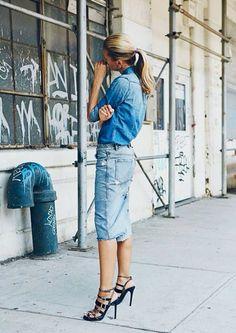 the denim skirt   LE CATCH