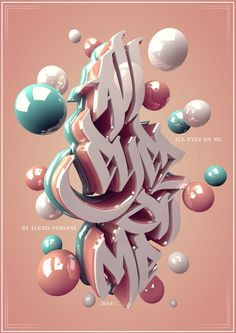 /// 3D typo /// by Alexis Persani, via Behance. Love the typography. #C4D, #Cinema4d:
