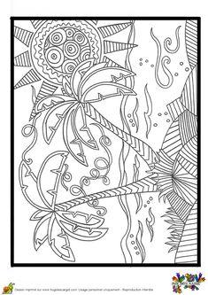 Dessin à colorier de deux palmiers géants Adult Coloring Book Pages, Cute Coloring Pages, Printable Coloring Pages, Coloring Books, Printable Pictures, Printed Pages, Summer Crafts, Line Drawing, Doodle Art