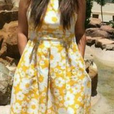"""Floral Dress w/ Pockets NEW yellow & white jacquard fit and flare dress pockets. Mediumweight textured fabric, pleated skirt, with back zipper. 97% Polyester 3% Spandex  Size 16 misses.  42"""" L 18"""" waist 18"""" bust Dress Barn Dresses"""