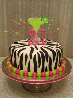 21st birthday cakes for girls   Colorful 21st birthday cake. Lemon & Strawberry cake with buttercream ...