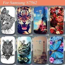 Módní Cute Owl aniamls Květinové věže telefon kryt pro Samsung Galaxy S Duos S7562 Trend S7560 pouzdro pro Samsung 7562 7560 Case (Čína (pevninská část))