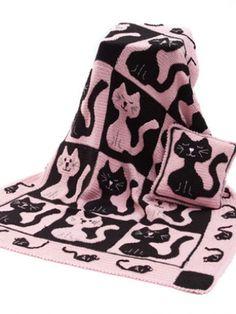 Cat & Mouse Throw & Pillow | Yarn | Free Knitting Patterns | Crochet Patterns | Yarnspirations