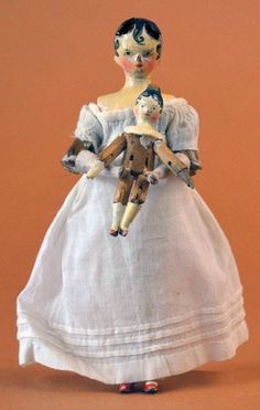 Early Wooden Peg Doll with Baby. Vintage Dollhouse, Dollhouse Dolls, Miniature Dolls, Vintage Dolls, Child Doll, Baby Dolls, Ann Doll, Victorian Dolls, Clothespin Dolls