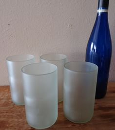 Frosted Glass Tumblers made from Recycled Wine glasses by ConversationGlass, $32.00