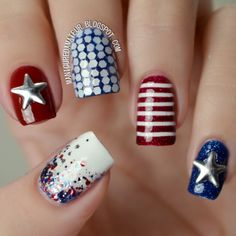 4th Of July And Memorial Day Nail Art Design Usa Nails Best Polish