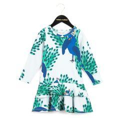Hellblaues Kleid mit Pfauen-Print