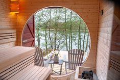 Sauna mit Seesicht Haus Am See, Sauna, Outdoor Furniture, Outdoor Decor, Hanging Chair, Poland, Bed, Home Decor, Decoration Home