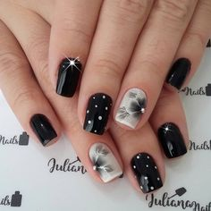 Charming Nail Designs You can collect images you discovered organize them, add your own ideas to your collections and share with other people. Fancy Nails, Trendy Nails, Love Nails, Glitter Gel Nails, Nail Manicure, Black Nail Designs, Nail Art Designs, Nails Design, Fabulous Nails