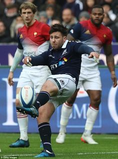 Scotland's replacement scrum-half Ali Price clears with a box-kick in the 2017 Six Nations defeat by France. Scottish Rugby, Rugby Training, Six Nations, Garra, Rugby Players, Scotland, Ali, Kicks, France