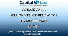 CS BASE CALL : SELL NICKEL SEP BELOW 701  TG 695/690/685  SL 712  Quick Trial- http://www.capitalstars.com/free-trial Register Now...!!!