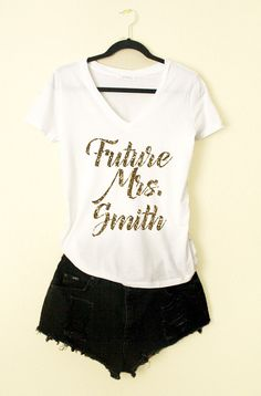 Future Mrs. Smith GOLD GLITTER Vneck Tshirts White by shopluvolive