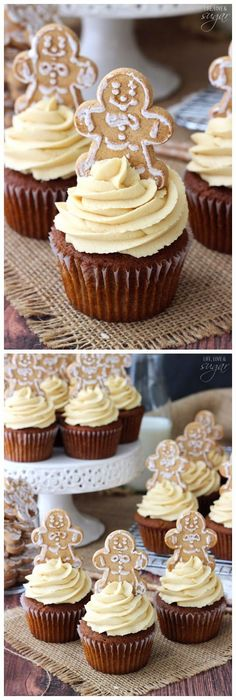 Gingerbread Cupcakes with Caramel Molasses Cream Cheese Icing