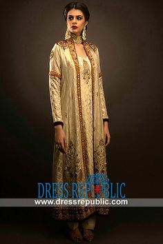 Off White Shawl Neck Dress In Banarasi Jamawar With Full Sleeves And Trousers