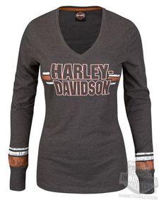 58885329 Harley Davidson Womens Intense Fascination V Neck Charcoal Long Sleeve T  Shirt | eBay Bike Style