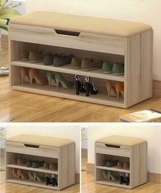 34 Unique Organizing and Storage Items that will Help You Save Space in Simple Ways - The Trending House Wooden Shoe Storage, Shoe Storage Cabinet, Bench With Shoe Storage, Shoe Rack Living Room, Diy Furniture, Furniture Design, Desktop Storage, Home Office Organization, Home Office Design
