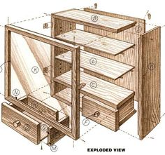 Woodworking plan for display cabinet. Complete woodworking plans with detail descriptions can be found on my website: www.tedswoodworkplans.com