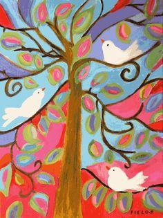 3 Birds in Tree - Print by Karen Fields