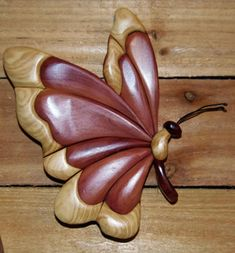Intarsia Flying Butterfly Wall Plaque