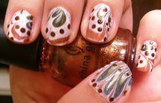 The Sparkle Queen: Fall Water Marble Nail Art Dot Nail Art, Fall Nail Art, Autumn Nails, Fun Nails, Pretty Nails, Sexy Nails, November Nails, Happy October, September