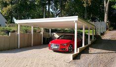 Carport für einen pkw mit abstellraum für fahrräder und gartengeräte