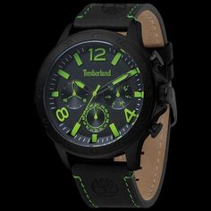 24b6b547241 Timberland branford black green   black dial leather watch