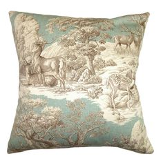 A lovely touch for your sofa, bed, or chaise, this stylish pillow showcases a toile-inspired motif and feather-down fill. Made in the USA.