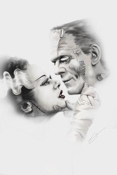 Frankie and the Bride. #frankenstein #thebrideoffrankenstein #love #classicmonsters