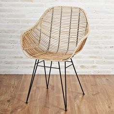 Natural rattan armchair, inspired by classic design. It is made with iron frame and legs with woven rattan in natural shade. Dimension: Total width depth: Total height: Seat height: 45 Colour : Natural or Brown Free Delivery. Cheap Dining Room Chairs, Rattan Dining Chairs, Cheap Chairs, Eames Chairs, Rattan Furniture, Lounge Chairs, Beach Chair With Canopy, Rattan Armchair, Chair Cushions