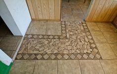 ugly cracked shard tile mosaic amateur floor Mesa Arizona home house for sale photo Mosaic Bathroom, Bathroom Flooring, Kitchen Flooring, Mosaic Tiles, Photo Tiles, Tiles Online, Bathroom Renovations, Bathrooms, Stone Mosaic