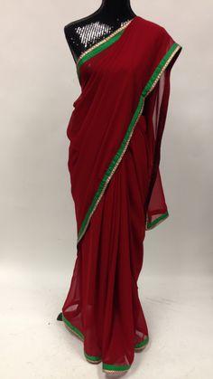 Georgette saree with Decorative Border -Maroon