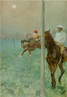 1. Edgar Degas, 1878-79, Jockey's before the race, subject landscape/nature. 2. I feel the impulse was human purpose. 3. I see brighter color in the focal areas (closest jockey) & a lighter variation in the background. Principles include balance of horse's & movement from right to left, as well as contrast between horses, riders & landscape with emphasis on the closest jockey. 4. The theme is a specific moment in time when the artist was inspired by riding/racing horses.