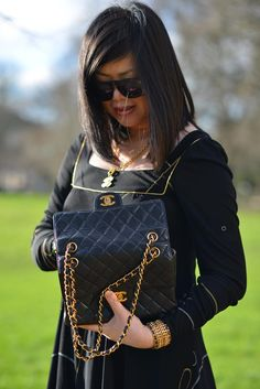 pre owned chanel double face classic flap bag close up