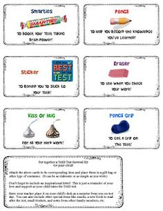 Test Taking Tips grab bag to make for students to remind them what to do to tackle a test.