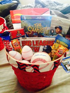 Teen boy gift basket would be a cute easter basket for little boy baseball easter baseball bucketsbaseball gift basketbaseball boyfriend negle Gallery