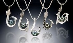 Keoni's Makau Pendant Collection in sterling silver, set with AAA-Grade… Fish Hook Jewelry, Jewelry Box, Jewelry Ideas, Tahitian Black Pearls, Pearl Pendant, Kauai, Fashion Jewelry, Men's Fashion, Pearl Earrings