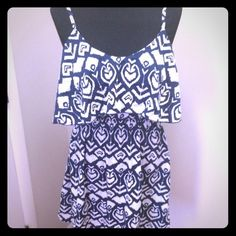 Navy Blue/White Ikat Print dress Navy Blue and White Ikat print dress. Worn only once in excellent condition Dresses