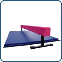 8ft Pink 12in High Balance Beam & 6ft Blue Mat Combo | Nimble Sports