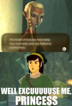 Don't you just love NPC grief?  Especially since Impa can Sheikah-jump to the END of the dungeon, whereas Link has to fight his way THROUGH the dungeon, overcoming monsters/lava/traps/locked doors/the entirety OF the dungeon.  SO OF COURSE SHE GOT THERE FIRST!  SHE DOESN'T HAVE TO DO ANYTHING!  (I wanted to stab her so bad in this game.)